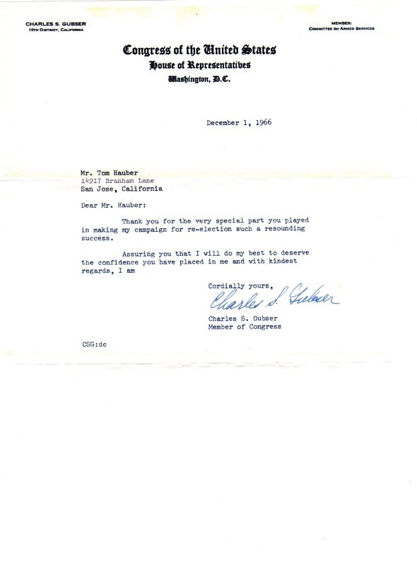 Letter from Congress, 1966, actually signed.